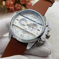 Wholesale Big Strap Leather Watch - Fashion sports sytle Luxury watches men watch stopwatch big dial leather strap top brand quartz wirstwatches for men relojes relo clock gift