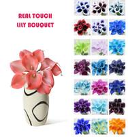 vasos de lírio venda por atacado-Atacado 50 pcs MOQ Real Toque Lily Simulação Bouquets De Flores De Casamento Artificial Calla Lily para Noivas e Decoração Para Casa (sem vaso)