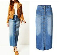Wholesale Dotted Ladies Skirts - 2017 Spring Long Jeans Skirts Women's Fashion Designed Blue Color A-line Pockets Ladies High Quality many Button Demin Skirt Hot Selling