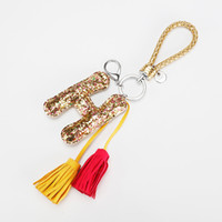Wholesale 2017 New bling paillette tassel Keychain Pu leather Luxury Key Holder Best Quality Leather Tassels Luxury Brand bag charm KY17