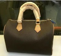 Wholesale Design Totes Leather - Classic Speedy 30 35 medium Damier Azur With Strap Women pu leather handbag Brown plaid bag brand designs totes bags with lock