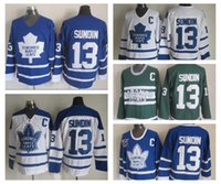 Wholesale C Grey - Throwback Mats Sundin Jerseys #13 Toronto Maple Leafs Jersey Vintage Classic 75th Anniversary Mats Sundin Hockey Jersey Embroidery C Patch