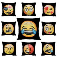 Wholesale Knitting Face - New Double Color Emoji Sequins Pillow Case Fashion Face Expression Pillow Covers Home Decor Sofa Car Cushion Bright Covers Decor