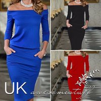 Wholesale Full Midi - Autumn Europe Fashion women Polyester Casual A-Line Solid Full Sleeve None Mid-Calf Off the Shoulder Slash neck Dresses