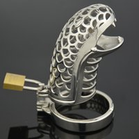 Wholesale Sex Padlock Chastity - The Cobra Snake design Stainless Steel cockcage chastity device penis cock cage + snap ring + Padlock Sex toys for male men bondage FF950
