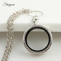 Wholesale Chain Memories - Round Magnetic Floating Locket Glass Living Memory Locket Necklaces with Rhinestone(chains included for free)Hot Sale Mix 4 Color 30mm