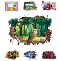 3d kuş duvar dekor toptan satış-3D Açılış Pencere Duvar Sticker Karikatür Film Karakter Görünüm Duvar Çıkartması Kuşlar Film Figürü Ev Dekor Vinil Duvar