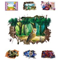 Wholesale Wall Decal Figures - 3D Opening Window Wall Sticker Cartoon Film Character View Wall Decal Birds Movie Figure Home Decor Vinyl Mural