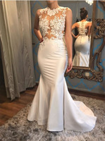 elegant sehen durch prom dress großhandel-Elegante weiße Satin-Nixe sehen durch Abschlussball-Kleid-Spitze Appliques-ärmellose Abend-Kleider Vestidos de Noivas reizvoll
