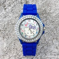 Wholesale Crystal Watch Silicone Band - Fashion Women Girl Hello kitty KT cat style crystal Silicone band Quartz Wrist Watch