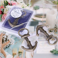 Wholesale Birthday Party Supplies Themes - Free Shipping 50PCS Nautical Theme Anchor Bottle Opener Wedding Party Shower Engagement Present Gifts Anniversary Keepsake Birthday Shower