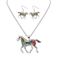 Wholesale Snake Necklace Earrings - Enamel Rainbow Horse Charm Necklace Earring Sets Women Jewelry Silver Gold plated Enamel Jewelry Set Gift 161822