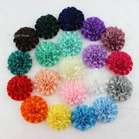 Wholesale Wholesale Satin Puffs - 20color U Pick,50pcs lot big cabbage satin puff flowers, 2inch Carnation flower headband supplies, hair bow supplies