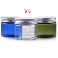 Wholesale Packaging Bottles Wholesale Silver Plastic - Empty Plastic Cream Jar Bottle With Silver Aluminum Screw Cap,50G Cream Jars Cosmetic Packaging,Empty Solid Cream Makeup Bottle