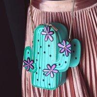Wholesale Cute Purse For Phone - flower cactus shape bag fashion design women purse coin sac cute phone bags for girls beauty small chain shoulder crossbody bag