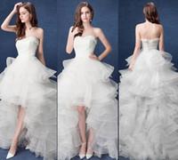 Wholesale Cheap Plus Sizes Bras - New Arrival Hot Sale Fashion Luxury Princess Lace Organza Multilayer Cheap Vintage Sexy Bra Short After Long Trailing Bridal Wedding Dress