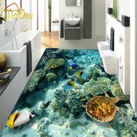 murales de tortuga al por mayor-Al por mayor-Personalizado Photo Floor Wallpaper 3D Estereoscópica Mundo Subacuático Coral Turtle 3D Mural PVC autoadhesivo Piso impermeable Wallpaper