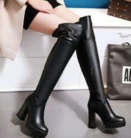 Wholesale Chunky Heel Buckle Boot - New Arrival Hot Sale Specials Influx Sweet Girl Sexy Spike Retro Super Leather Size Zip Plus Velvet Martin Platform Knee Boots EU34-43