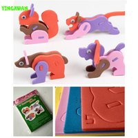 Wholesale Eva Foam Puzzle - Wholesale- 2016 New High Quality DIY 3D Animal Puzzle 3mm Eva Foam Craft Early Learning Creative Educational Toys Kids 3-6 years Old