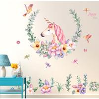 ingrosso murales uccelli-Autoadesivo della parete del fumetto Unicorn Flower Birds PVC rimovibile Decalcomanie della parete Home Decor Sticker Mordern Art Murale Soggiorno