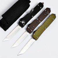 Wholesale Action Brand - Brand micro Ultratech style Double action Knives 8Cr13Mov steel Satin Plain 6061-T6 aluminum handle Tactical knife Outdoor survival tool