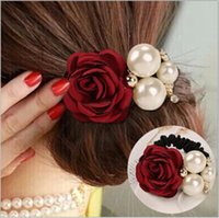 Wholesale Decorated Headbands - Women Ribbon Flowers Style Simulated Pearls Headband Decorating Alloy Elastic Hair Bands for Girls Hair Accessories