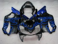 Wholesale Honda F4i Blue Flame Fairings - Plastic Fairings CBR F4i 03 Full Body Kits CBR600F4i 2002 Black Blue Flame Fairing Kits for Honda Cbr600 2001 2001 - 2003