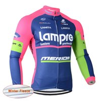 Wholesale High Quality Thermal Fleece Cycling - Lampre Cycling High Quality Gorgeous Long Sleeve Cycling Tops Colorfast Sleeves Thermal Fleece Cycling Jerseys maillot ciclismo D1126
