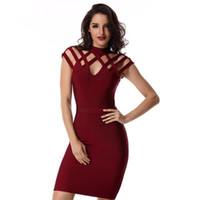 Wholesale Wine Grid - Summer Runway Dress Women Evening Bandage Dress 2017 Wine Red Grid cut out short sleeve mini Sexy Celebrity Party Dresses