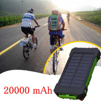 Wholesale External Battery Dual - New 20000mah Solar Power Bank Portable Waterproof External Battery Pack Charger Dual USB solar charger For USB devices