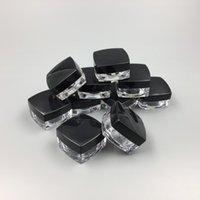 tırnak sanatası plastik kavanozlar toptan satış-5 Gram Plastik Kavanoz Kare Şekli Temizle Pot Siyah Kap Kozmetik Örnek Göz Farı Dudak Balsamı Konteyner Nail Art Parça Glitter Şişe