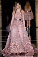 zuhair murad couture evening dresses venda por atacado-2017 New Couture Zuhair Murad Vestidos de Noite 3D Floral Apliques Empoeirado Blush Vestidos de Baile Plus Size Mais Recente Vestido de Festa Design