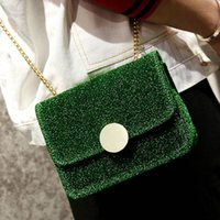 Wholesale Velvet Purse Black Party - velvet bag mini shoulder crossbody bags for girls candy color clutch purses and handbags Shiny sequins party bags phone bag 2017