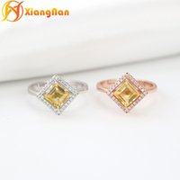 Wholesale Natural Citrine Rings - S925 silver gemstone rings square rings natural citrine ring high quality weeding rings silver top grade best jewelry gift FR010