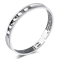 Wholesale Sterling Silver Word - 925 sterling silver items jewelry wedding charm bracelets bangle carven blessing heart Sutra words new arrival