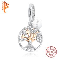 Wholesale Gifts Family Tree - BELAWANG 2017 Christmas Gift Gold Family Tree Silver Dangle Charms with Clear CZ Fit Original Pandora Bracelets 925 Sterling Silver Jewelry