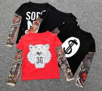 Wholesale Baby Tattoo Sleeves - Boy Clothes Cotton T-shirt Long Sleeve Children Tee Shirts Novelty Tattoo Sleeve Baby Boys Tops Spring&autumn Kids Clothing TOP1656