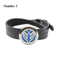 Wholesale 316l Stainless Steel Magnetic Clasp - New arrival! 25mm silver magnetic perfume locket bracelt 316l stainless steel oil diffuser bracelet with PU leather band