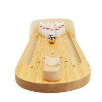 Wholesale Mini Bowling Game Set Finger Wooden Bowling Alley Ten Metal Pin Ball Desk Educational Toys Parents and Children Board Game