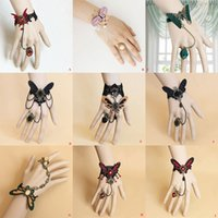 Wholesale Masquerade Charms - Gothic Punk Lace Butterfly Resin Rhinestone Bracelet Ring Sets Masquerade Party Hand Chain Women Charm Wristlet Hand Decor Props