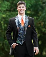 einzigartige blazer groihandel-Einzigartige Camouflage Männer Anzug Camo Smoking Jacke Herren Floral Blazer Designs Hochzeit Smoking Slim Fit Herren Prom Anzüge (Jacke + Hose + Weste + Tie)