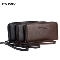 Wholesale Hw Fashion - Wholesale- HW POLO Brand New men wallets zippers fashion long design wallets with a card holder TOP leather purse Male clutch bag 3 color