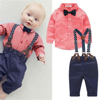 Wholesale Newborn Neck Tie - Wholesale- 2017 New Baby Boy Spring Gentleman Plaid Clothing sets Suit Newborn Baby Bow Tie Shirt + Suspender Trousers formal party