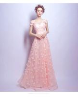 Cheap powder pink wedding dress - Chinese handmade sewing powder pink lace petals bride wedding dress wedding dress dinner dinner party dress