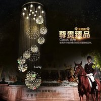 Wholesale hotel large staircase chandelier online - 2017 K9 crystal Large Chandeliers Ceiling Light Fixture for Lobby staircase stairs Long spiral Chandelier Light lustre Luxury pendant lamp
