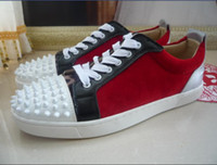 Wholesale Male Soles - Wholesaler Top Quslity Men spikes Leather Shoes Men casual shoes Luxury red bottom Casual sneakers rivets male leisure red Sole shoes