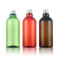 ingrosso grandi bottiglie di plastica-500ml 12pcs bottiglie di PET cosmetici vuote con tappo in alluminio Grande contenitore di plastica Contenitore di imballaggio cosmetico bottiglia di lozione marrone rosso verde