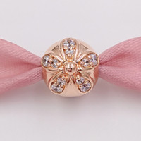 Wholesale rose gold clip charm - Authentic 925 Sterling Silver Beads Rose Gold Plated Dazzling Daisy Clip Fits European Pandora Style Jewelry Bracelets & Necklace 781493CZ