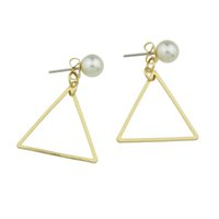 Wholesale Circular Studs - Jewelry Simulated Pearl Gold-Color Silver Color Stud Earrings With Square Shape Triangle Circular Shape For Women