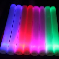 Wholesale Led Glow Foam Sticks Blue - 4 * 40cm 100pcs LED foam sticks Glow sticks Party props sponge stick flash stick EMS Free shipping 4 Color (Pink Red Blue Green)
